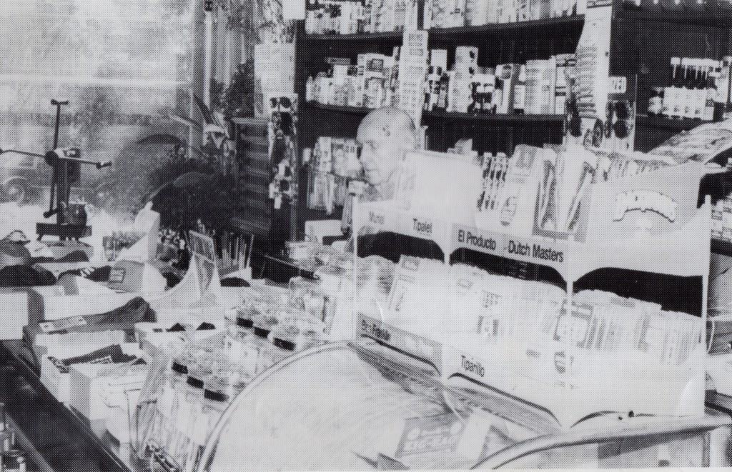 Davis behind the counter, circa. 1981 (Cannerelli)