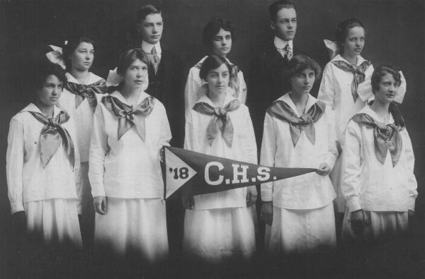 The graduating class of 1918 at Camden High School: The young lady holding the point of the pennant is my half grand aunt, Lois Cole, daughter of Thomas G. Cole, Jr.'s second wife, Ida Alice Forward Cole. She later married Adolphus J. Derochie who came to teach math at the school in Camden.