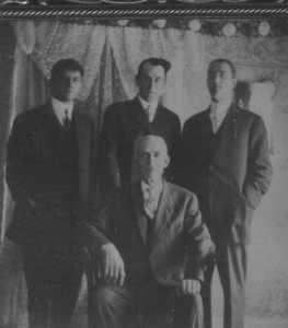 This photo is some of my COLE ancestors taken around 1920. The old gentleman was Thomas GOODING COLE Jr.(Grt. Grandfather), directly behind him is Edward Alden COLE, my Grandfather, who was the only surviving child of Thomas by his first wife Tina COOPER COLE of North Bay. The man to his left was Homer FORWARD COLE. He was Thomas' son by his second marriage to Ida Alice FORWARD COLE. The man on the far left was Joseph Franklin PUTNAM b. in Terre Haute, Ind., who married Thomas' eldest daughter Nellie May COLE by Ida F. COLE. Gr. Aunt Nellie is the one who started all of the genealogies that I have had passed down to me from the different family lines. She passed away in 1974 in California. Joseph taught math at Berkeley University.