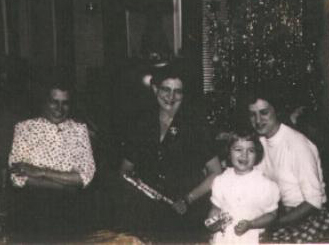 Left to Right: Mrs. Ida Cole Waite Simmons, wife of Walter Simmons, Mrs. Helen Cole Walters, wife of Francis (Frank) Walters, Mrs. Mae Cole Winker, wife of John Winker, and daughter, Patricia Winker. Ida, Helen and Mae were three of my dad's sisters, and children of Edward Alden and Alice Brown Cole.