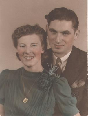 This is my Mom and Dad on their wedding day Feb.1939. Married in Booneville, lived in Camden where Dad worked at Camden Wire and Cable. Dad was born in 1915 in McConnellsville-died 1969 in Mt. Dora, Lake Co., Fla. Mom was Laura Marie Poile, born on the farm at Stanwix Hgts. in 1913. She is still alive and doing remarkably well.