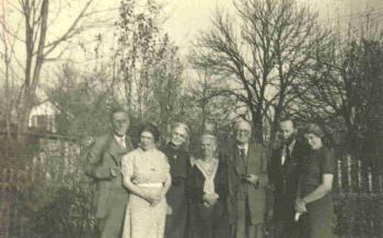 John B. Cole Clan: In Michigan, November 1937, for 60th anniversary of John and Martha Wright Cole. Far left: Orion J. Walworth, Blanche Cole Palmer, Mrs. Minnie Wright Walworth, Mrs. Martha Wright Cole, John B. Cole, William Augustus Begole and his wife Ethel Cole Begole